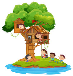 Children playing in the treehouse vector