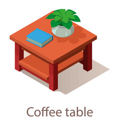 Coffee table icon isometric style vector