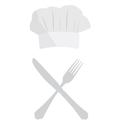 Cook hat fork and knife vector image vector image