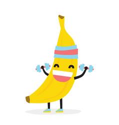 Cute funny kawaii banana bodybuilder isolated vector