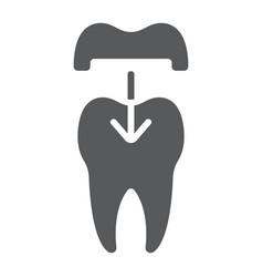 Dental crown glyph icon stomatology vector