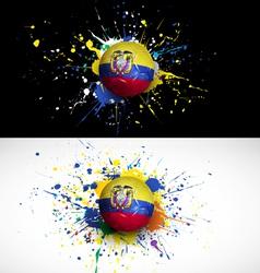 ecuador flag with soccer ball dash on colorful vector image