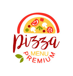 flat colorful half of pizza with vegetables and vector image vector image