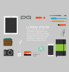 Flat design flyer with every day accessories vector