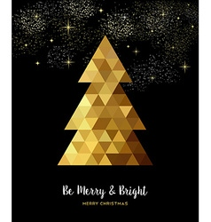 Gold christmas tree design in gold low poly style vector