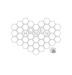 Honeycomb set in shape of heartbee insect animal vector