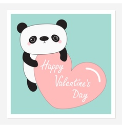 Kawaii panda baby bear Happy Valentines Day vector image vector image