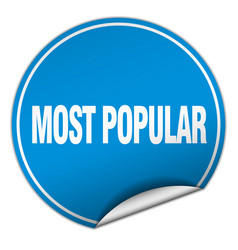 Most popular round blue sticker isolated on white vector