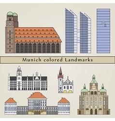 Munich colored landmarks vector