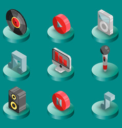 music color isometric icons vector image