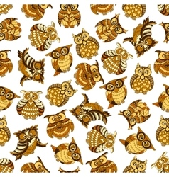 Owl and owlet birds seamless pattern vector image vector image