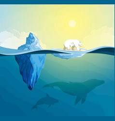 Polar bear on polar pole global warming concept vector