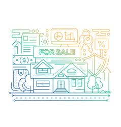Real estate - line design composition - color vector