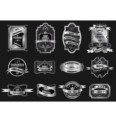 Retro original silver emblems labels collection vector image