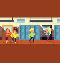 Schoolchildren in school corridor at classroom vector