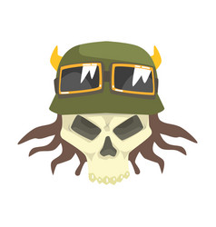 Scull in green helmet with shades colorful vector