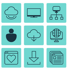 Set of 9 world wide web icons includes login vector