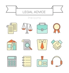 Set of color flat line icons for law firm vector