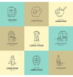 Sport nutrition icons vector