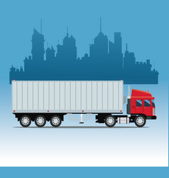 truck cargo container urban background vector image vector image