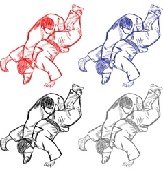 Vetctor collection of judo for cutting vector