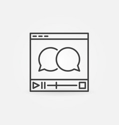video player with speech bubbles icon vector image vector image