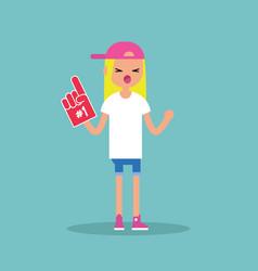 Young blonde teenage fan wearing foam finger vector