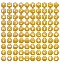 100 barbecue icons set gold vector image