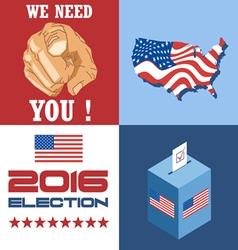 Usa 2016 election card with country map vote box a vector