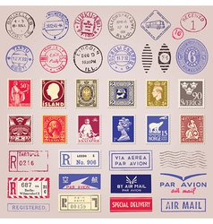 Vintage postage stamps marks and stickers vector