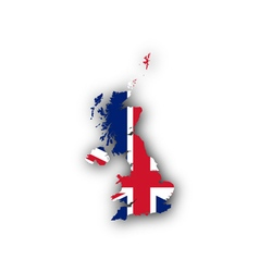 Map and flag of great britain vector