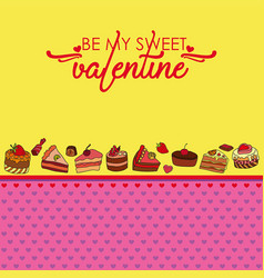 Greeting card for valentines day with sweets vector