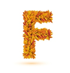 Autumn fall bright orange leaves letter vector