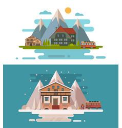 Set of rustic dwellings vector
