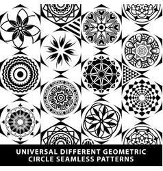set pattern seamless diamond tile circle black vector image