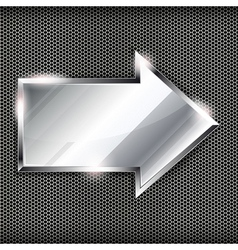 Arrow sign on a metal background vector