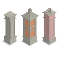 Gate pillars isometric vector