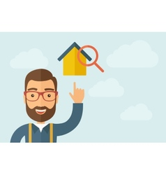 Man pointing the house with magnifying glass icon vector