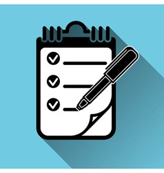To Do List Clipboard Pen Icon Long Shadow vector image