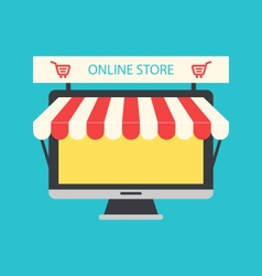 Flat Icon of Computer PC as Showcase of Shop vector image
