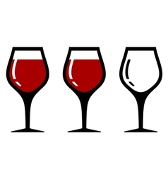 Set isolated wine glasses vector