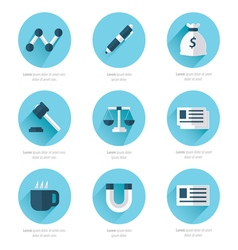 Office icons flat design blue style color vector