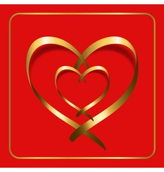Gold heart ribbon red 2 vector
