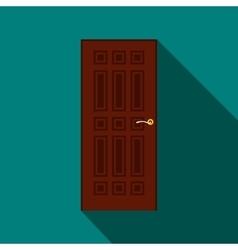 Brown door icon flat style vector