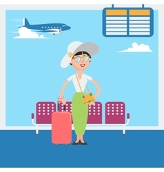 Happy woman waiting to departure in airport vector