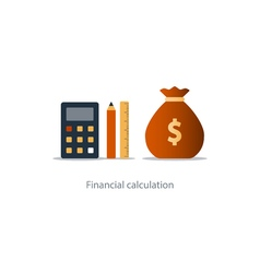 Budget money count financial calculator pencil and vector