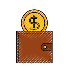 business wallet and money dollar currency vector image