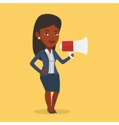 Business woman speaking into megaphone vector