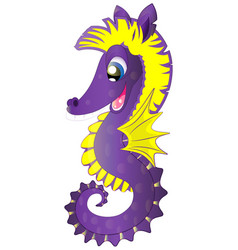 cartoon cute seahorse vector image vector image