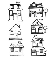 Doodle of building style collection vector